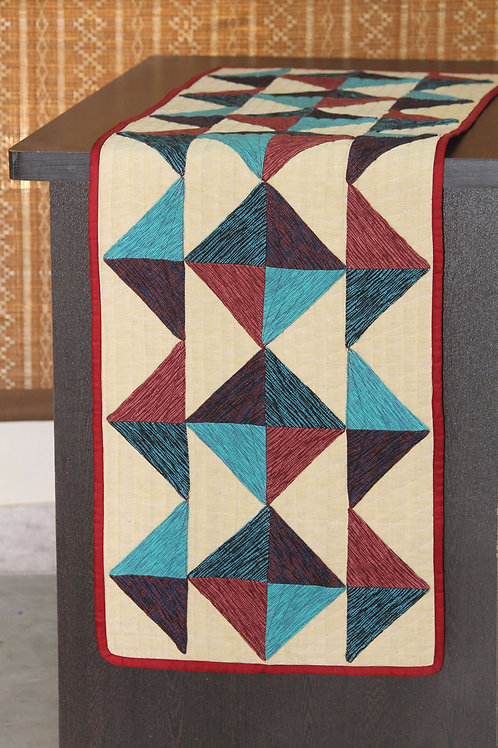 Maroon Blue Handwoven Cotton Patchwork Runner