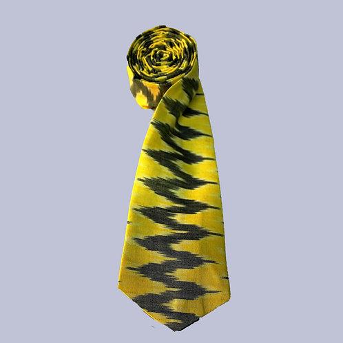 Yellow-Black Handwoven Ikat Cotton Tie