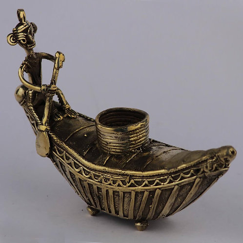 Dokra Craft Curio - Boat Man (Candle Stand)