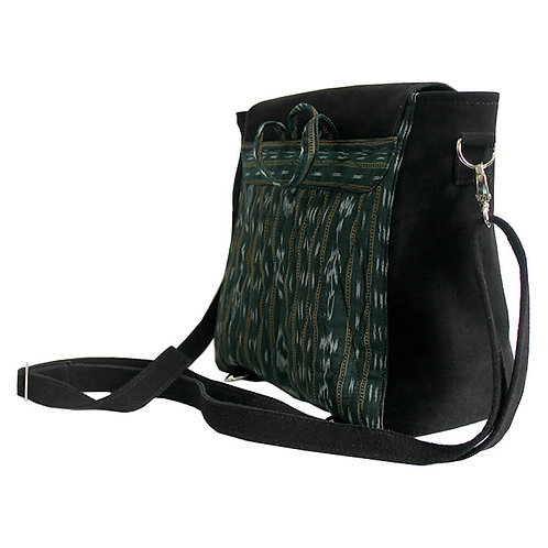 Green ikat with black suede leather sling bag