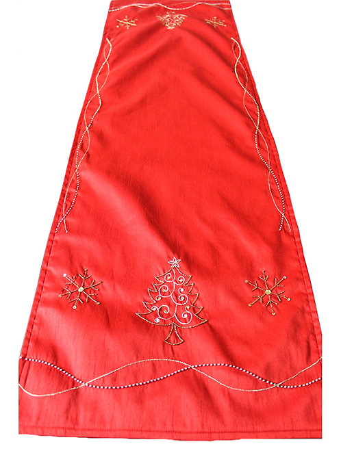 Red Hand Embroidered Table Runner