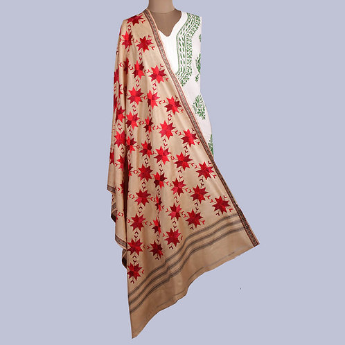 Beige Silk Dupatta With Red And Maroon Phulkari Flowers