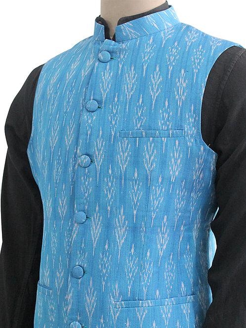 Blue Handwoven Ikat Nehru Jacket