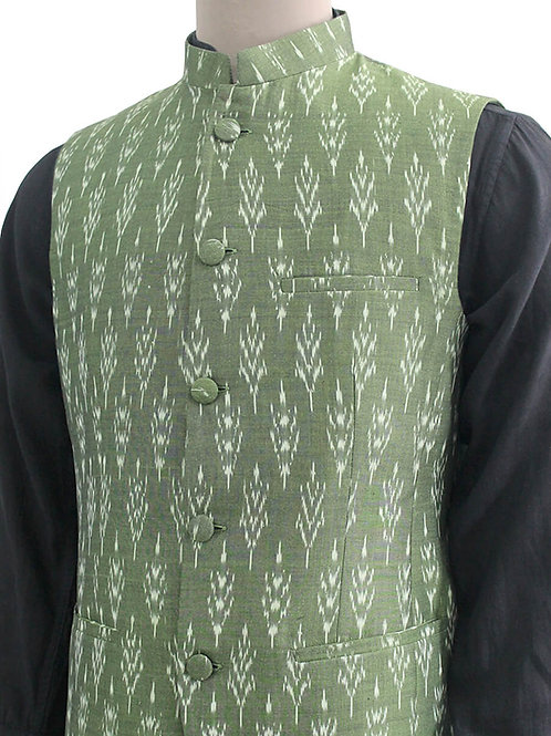 Green Handwoven Ikat Nehru Jacket