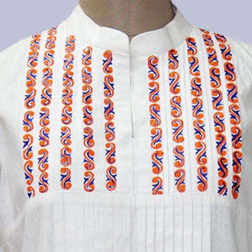 White Handwoven Hand Painted Pintuck Handwoven Cotton Kurta
