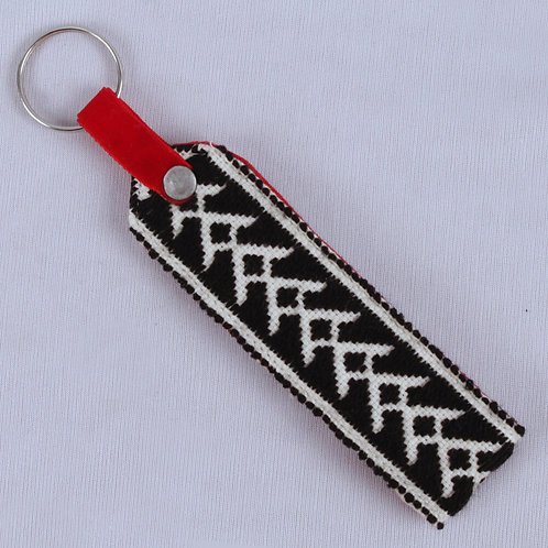 Black-White Toda Hand Embroidered Key Chain
