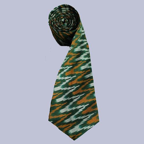 Green-Yellow Handwoven Ikat Cotton Tie