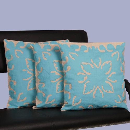 Blue Applique Handwork Cotton Cushion Covers (Set Of 3)