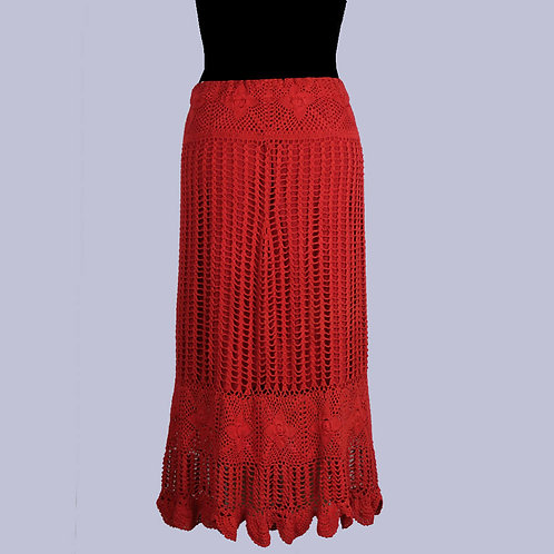 Maroon Crochet Knee Length Skirt (With Lining)