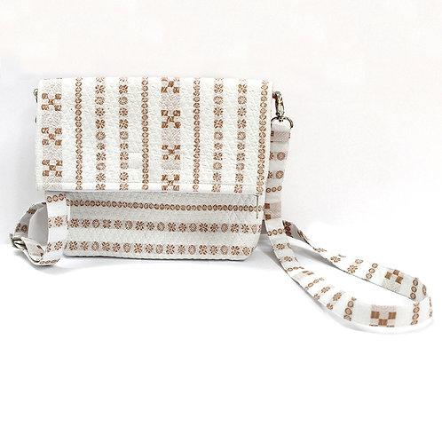 White Brown Handwoven Ikat Sling Bag