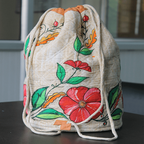 Red Green Handwoven Handwoven Cotton Hand Printed Potli Bag