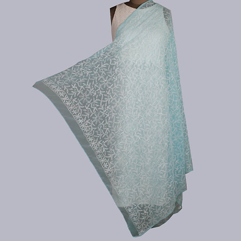 Light Blue Georgette Tepchi Chikan Dupatta