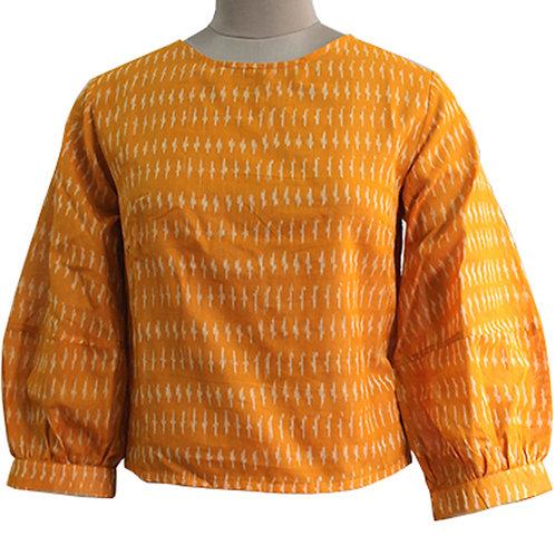 Orange Cotton Handwoven Ikat Top