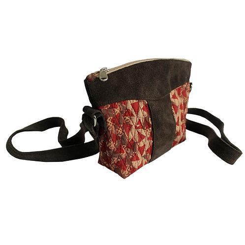 Handblock Print dark brown suede leather mini crossbody bag