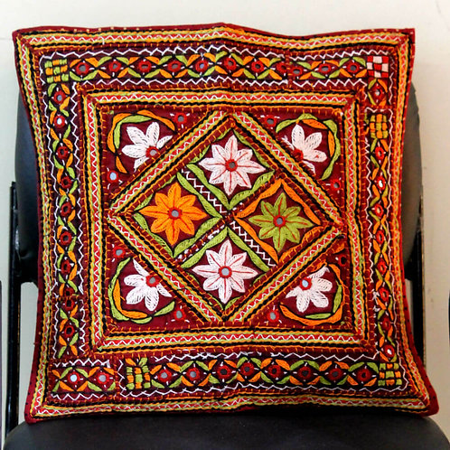 Maroon, Green & Orange Elaborately Handcrafted Kutch Cushion Cover
