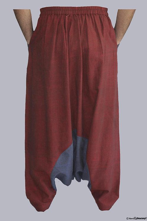 Maroon & Blue Handwoven Cotton Harem Pants
