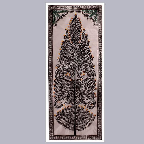 Pattachitra Tree Painting (Black) On Tassar Silk