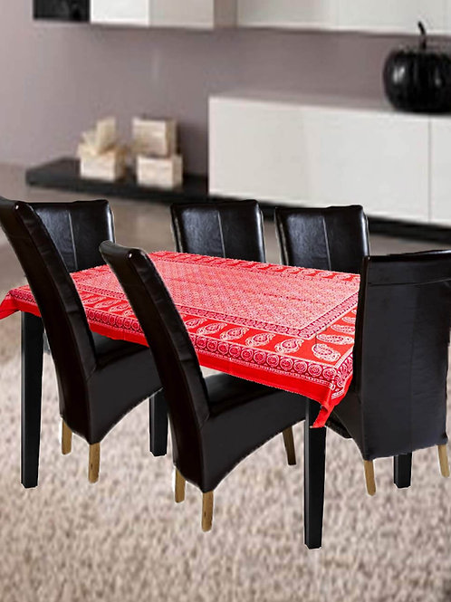 Red Colour Ajrak Hand Block Printed Glaze Cotton Table Cover