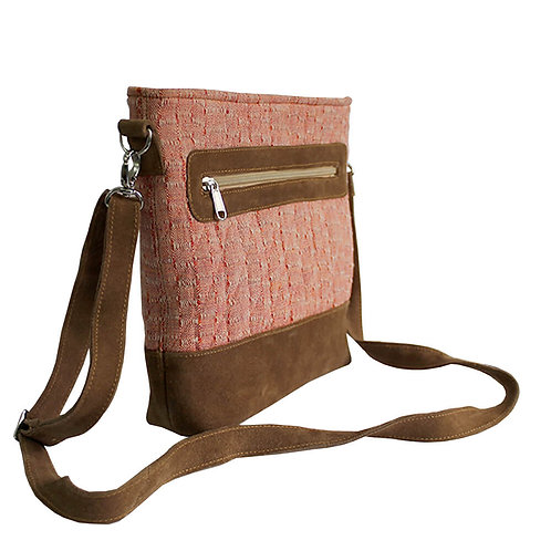 Pink woven brown leather sling bag