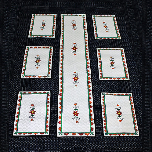 White Handwoven Handwoven Cotton Hand Painted Table Mats & Runner (Set of 6+1)