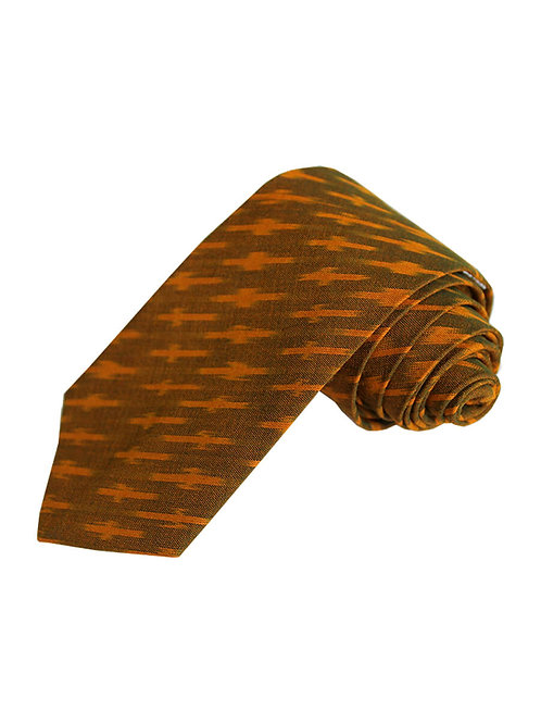 Brown Yellow Handwoven Ikat Cotton Tie