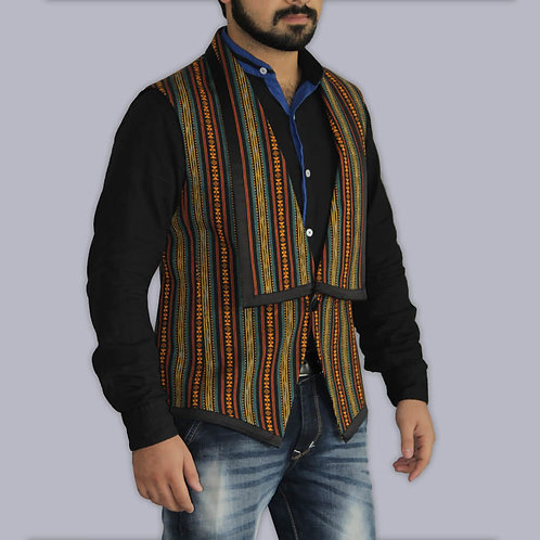 Multicolored Aztec Print Black Handwoven Ikat Waist Coat With Black Satin Border
