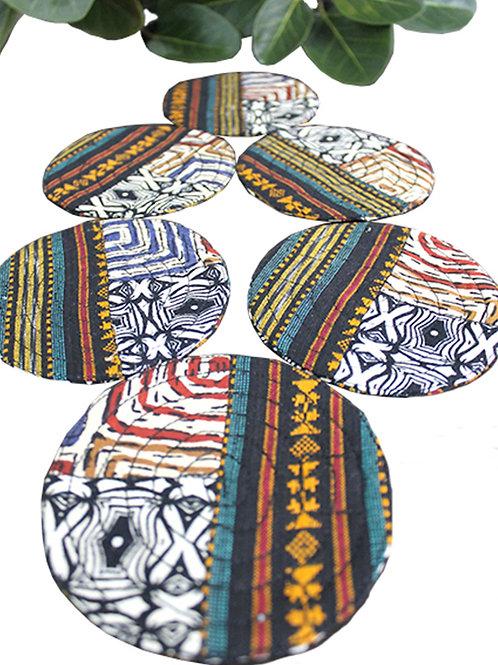 Multi Color Ikkat Block Print Coasters (Set of 6)