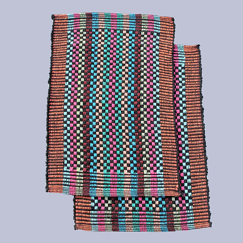 Multicoloured Handwoven Foot Mats (Set Of 2)