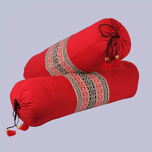 Red-Black Toda Hand Embroidered Bolster Covers (Pair)