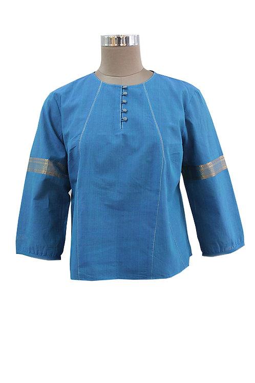 Blue Mangalgiri Handwoven Top