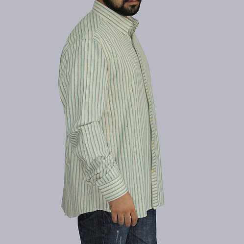 Green Stripes Handwoven Handwoven Cotton Shirt