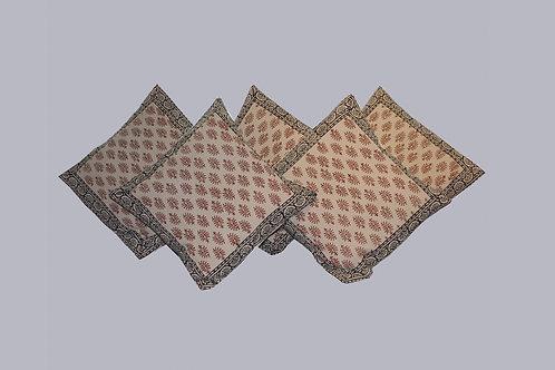 Rust & Black Sanganeri Hand Block Printed Cushion Covers (Set Of 5)