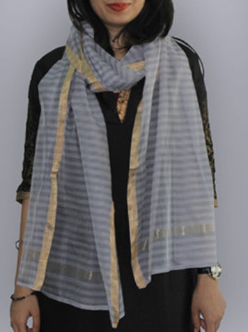 Grey And Lavender Striped Chanderi Cotton Slik Stole