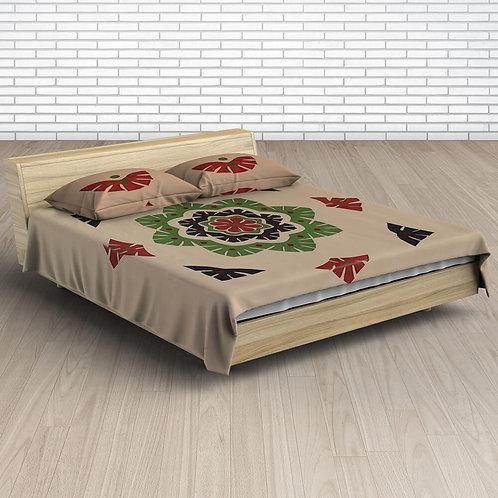Beige Maroon Handmade Applique Work Cotton Bedsheet With 2 Pillow Covers