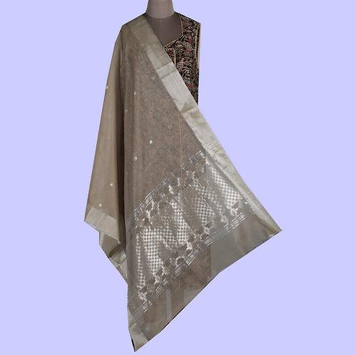 Beige Handwoven Chanderi Cotton Silk Dupatta With Elaborate Work