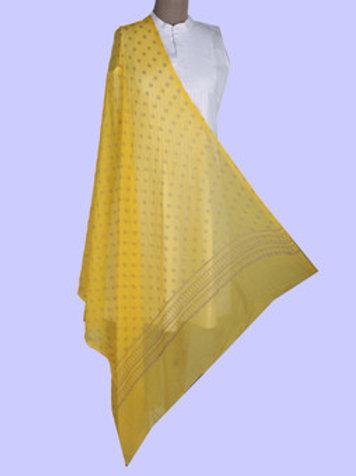 Yellow Bagru Hand Block Printed Pure Chiffon Dupatta