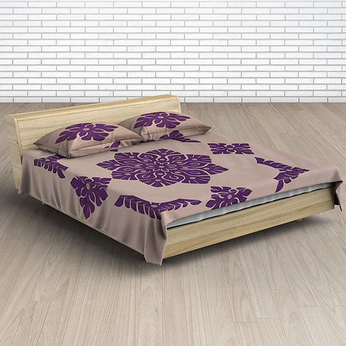 Peach Purple Handmade Applique Work Cotton Double Bed-sheet With 2 Pillow Covers