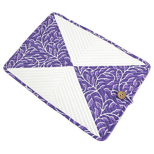 Purple White Handwoven Printed Laptop Sleeve