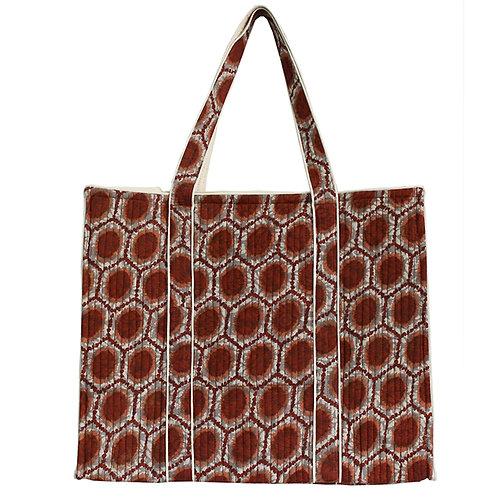 Maroon White Printed Shopping Bag