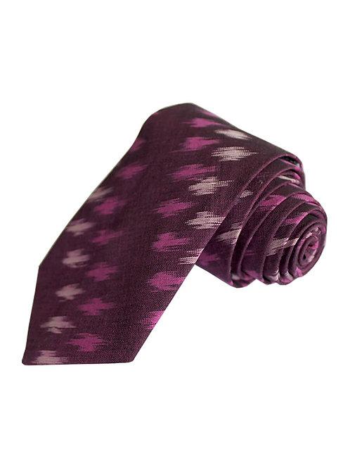 Maroon Handwoven Ikat Cotton Tie