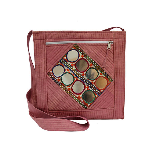 Pink Chanderi Silk Kutch Sling Bag