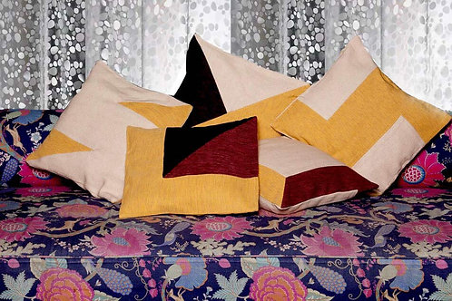 Mustard, Maroon & Beige Handwoven Designer Cushion Covers (Set of 5)