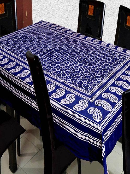 Indigo Colour Ajrak Hand Block Printed Cotton Table Cover