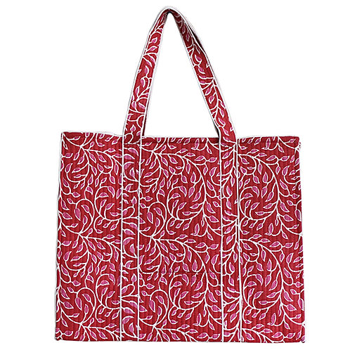 Pink White Printed Shopping Bag