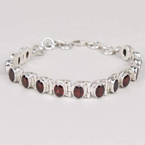 Sterling Silver & Garnet Bracelet
