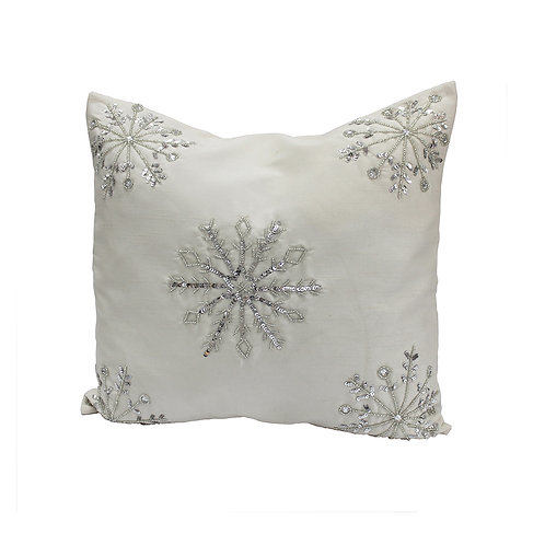 White Hand Embroidered Cushion Cover