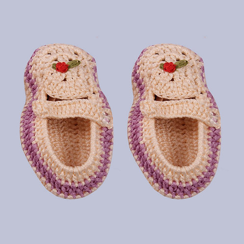 Peach Purple Crochet Baby Shoes