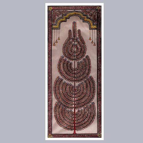 Pattachitra Tree Painting (Pink) On Tassar Silk