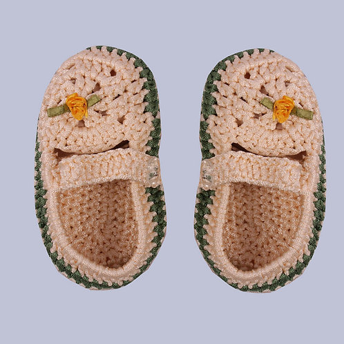 Peach Green Crochet Baby Shoes