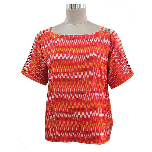 Red White Cotton Handwoven Ikat Top